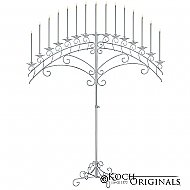 15-Light Fan Floor Candelabra - Frosted Silver