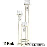 3-Light Teardrop Centerpiece Candelabra - 10 Pack - Gold Leaf