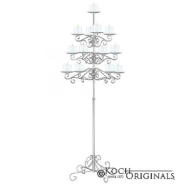 13-Light Tree Floor Candelabra - Pillar Style - Frosted Silver