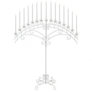15-Light Fan Floor Candelabra - White
