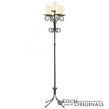 5-Light Tree Floor Candelabra - Pillar Style - Onyx Bronze