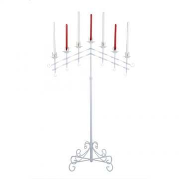 7-Light Adjustable Floor Candelabra  - White