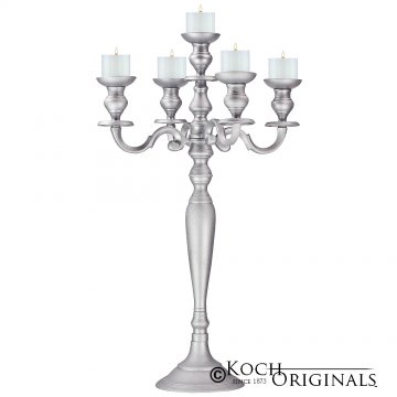 Hierarchy Tabletop Candelabra - 30'' - 5 light - Frosted Silver
